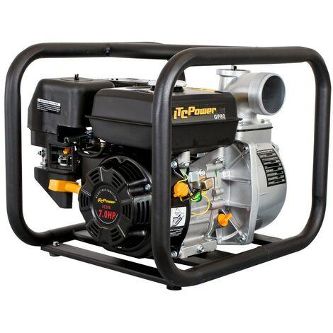 Motobomba IT-GP80 de motor a gasolina de aguas limpias con un diámetro de 80 mm, con un caudal de60 m3/ h (1.000L/min) y una altura máxima de 30m.