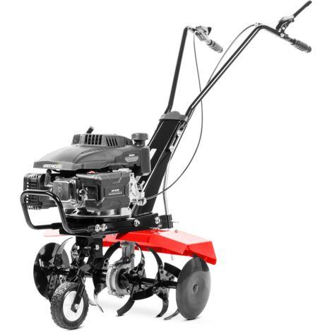 Motoculteur GTC190X moteur à essence 2 temps 161cc 5cv. Largeur de travail 56cm. Profondeur de travail 13cm. Lames en fer trempé. 6 couteaux - Greencut