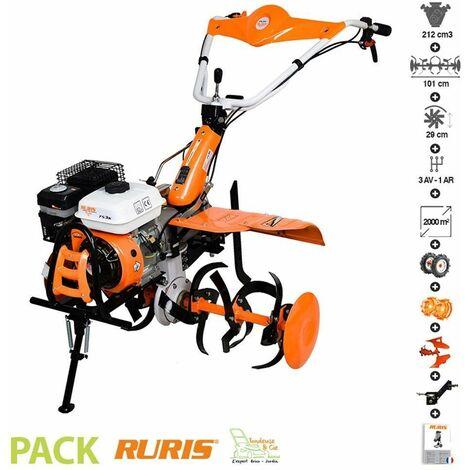 Motoculteur professionnel 7,5 Cv 3 vitesses AV 1AR charrue brabant butteur roues Ruris 753 - Orange