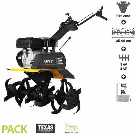 Motoculteur thermique 212 cm3 8 vitesses avant 4 arrière largeur travail 35 à 90 cm Texas Fusion 10TG Vario