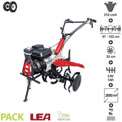 Motoculteur thermique avec roues pneumatiques travail 102cm vitesses 2AV-1AR LEA LE42212-97W21 - Noir