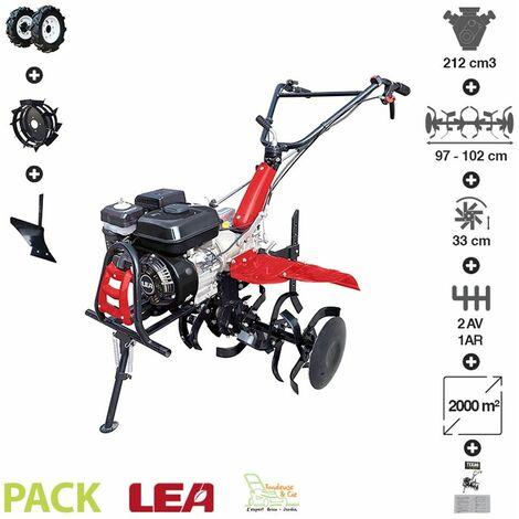 Motoculteur thermique pack labour roues agraires et metal charrue vitesses 2AV-1AR LEA LE42212-97W21 - Noir