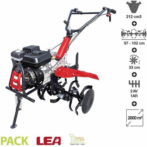 Motoculteur thermique tracté 5,5 Cv travail jusqu'à 102cm 2 vitesses AV – 1 AR guidon ajustable LEA LE42212-97W21 - Noir