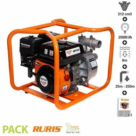 """main image of """"Motopompe 7cv 212cm3 débit 25 à 36m3/h Ruris MP50 raccord 50 mm 2 pouces - Orange"""""""