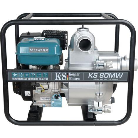 Motopompe à essence pour eau très polluée de TM Könner & Söhnen KS 80MW, hauteur de relevage 20 m, profondeur d'aspiration 7 m, 9,0 CV, moteur thermique à 4 temps EURO V, motopompe de surface.