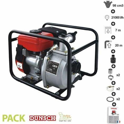 Motopompe thermique 98cc 2,6 cv 4 temps 21 m3/h raccord 1,5 pouce LEA DUNSCH LE71098-40