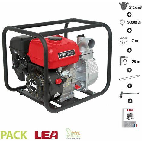 Motopompe thermique évacuation eau irrigation 5,6Cv 212cm3 débit 30000 l/h LEA LE71212-50 raccord 2 pouces