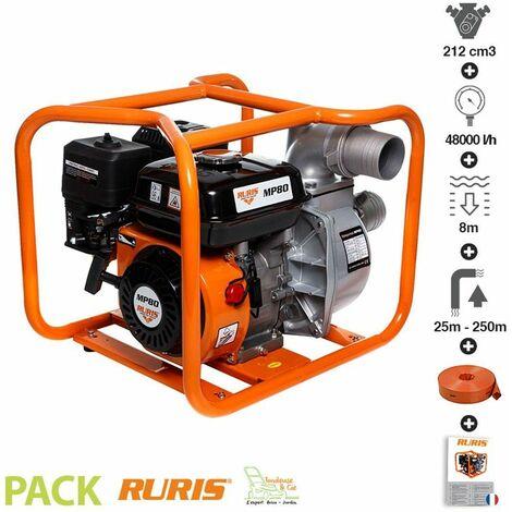 Motopompe thermique Ruris MP80 avec tuyau de refoulement 20m x 76 mm WP80 - Orange