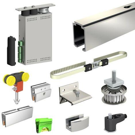 Motor für Glas-Schiebetür inkl. Beschläge, Kabel, mit APP-Steuerung, Laufschiene 390 cm (2x 195 cm), 2 Türen bis 80 kg,
