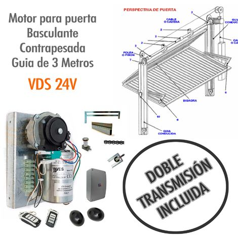 Motor para puerta basculante contrapesada Guía de 3 Metros ( DOBLE TRANSMISION) - VDS 24V.