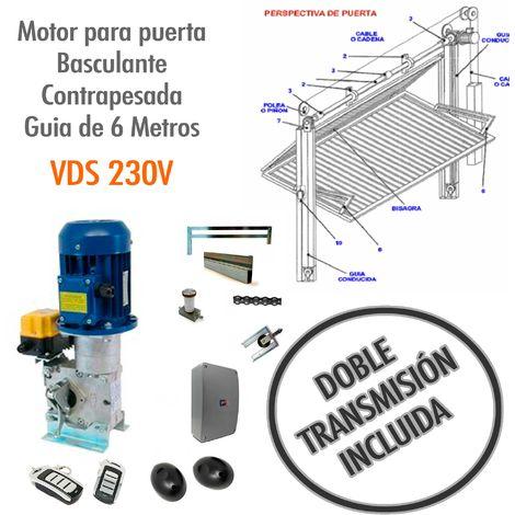 Motor para puerta basculante contrapesada Guía de 6 Metros ( DOBLE TRANSMISION) - VDS 230V.
