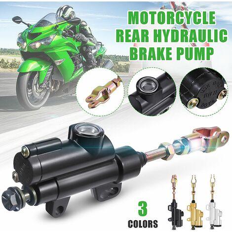 Motorcycle Rear Foot Hydraulic Brake Pump Rear Brake Master Cylinder Pump Kit (Black)