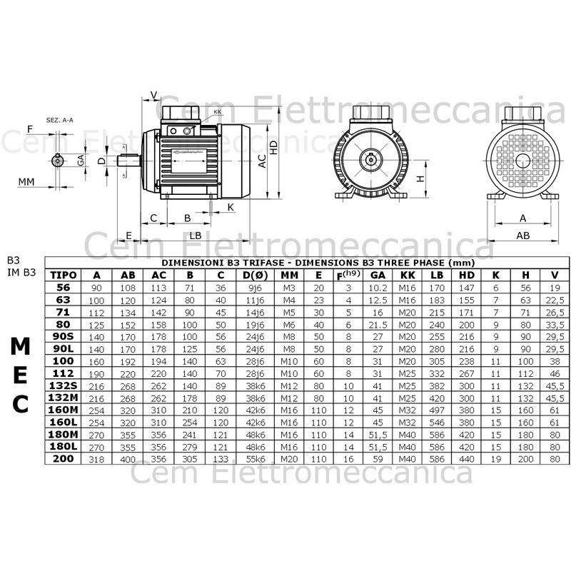 2 poli 2800 giri Mec 80 B5 Seipee 2.0 HP Motore Elettrico Trifase 1.5 kW