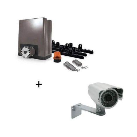 Motorisation pour portail coulissant PVC, bois, alu, acier - OREA 500 PLUS (24V) - Motorisation + caméra