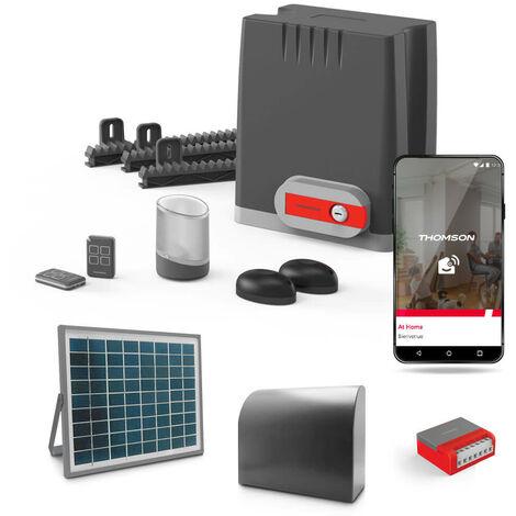 Motorisation pour portail coulissant swip 500 - Thomson Connecté à votre smartphone Android ou Apple - Connecté à votre smartphone Android ou Apple + Kit solaire