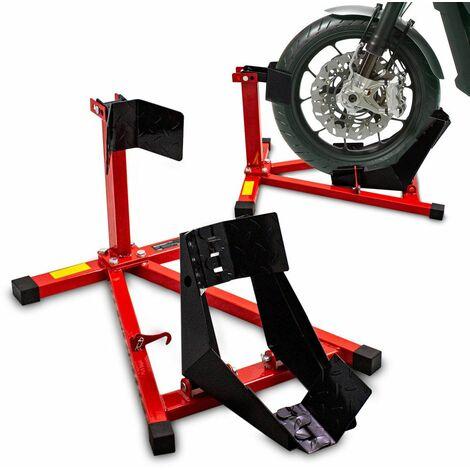 Motorrad Montageständer Motorradständer vorne Vorderrad Transportständer Rot / Schwarz