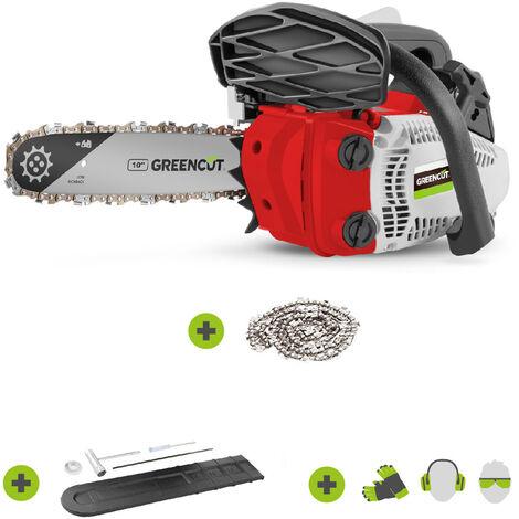 """main image of """"Motosierra de gasolina GS280X-10, motor térmico 2 tiempos 28cc, potencia 1.7cv, espada 10"""", para poda, corte 25.4cm, manillar ergonómico y arnés - Greencut"""""""