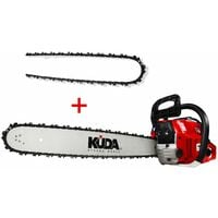 Motosierra de gasolina KUDA + una cadena extra - 50cm de espada 52 cc y 3 cv