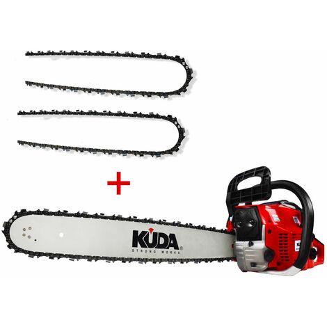 Motosierra gasolina KUDA 52 cc 3cv 2 cadenas extras y espada de 50cm