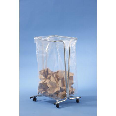 MOTTEZ - Support sac poubelle fixe 100-110 litres - zingué sur roulettes - B016CNM