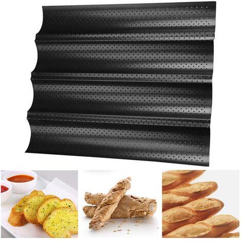 """main image of """"Moule à baguette perforée antiadhésive pour pain français cuisson vague pains pain cuisson moule Toast cuisson boulangers moulage vagues de casserole"""""""