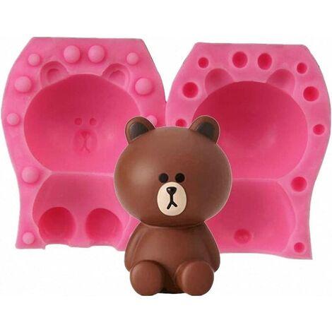 Moule à bougie ours 3D de petite taille - moule en silicone ours en peluche pour fondant, décoration de gâteau, chocolat, savon fait main, barre de lotion, bombe de bain, cire, crayon, pâte polymère
