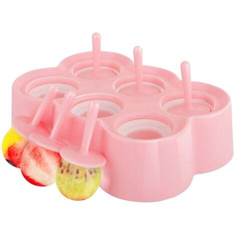 Moules de glace POP, [Cavité de 6] Premium Silicone Popsicics Fabricants de glace Pop Makers Rectangle Titulaires de plateaux de crème glacée, Famille Diy Popsicle Moules, BPA gratuit, Gadget de cuisine, Rose