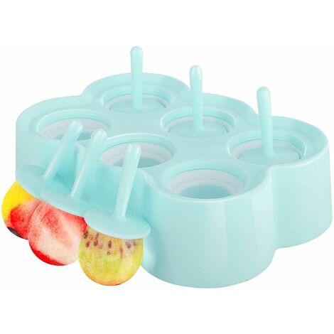 Moules de glace POP, [Cavité de 6] Premium Silicone Popsicics Fabricants Pop Makers Rectangle Glace Titulaires de plateaux, Famille Diy Popsicle Moules, BPA Gratuit, Gadget de cuisine, Bleu