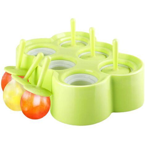 Moules POP de glace, [Cavité de 6] Premium Silicone Popsicics Makers Makers de glace Rectangle Titulaires de plateaux de crème glacée, Moules de Popsicle Famille Diy, BPA, Gadget de cuisine, Vert