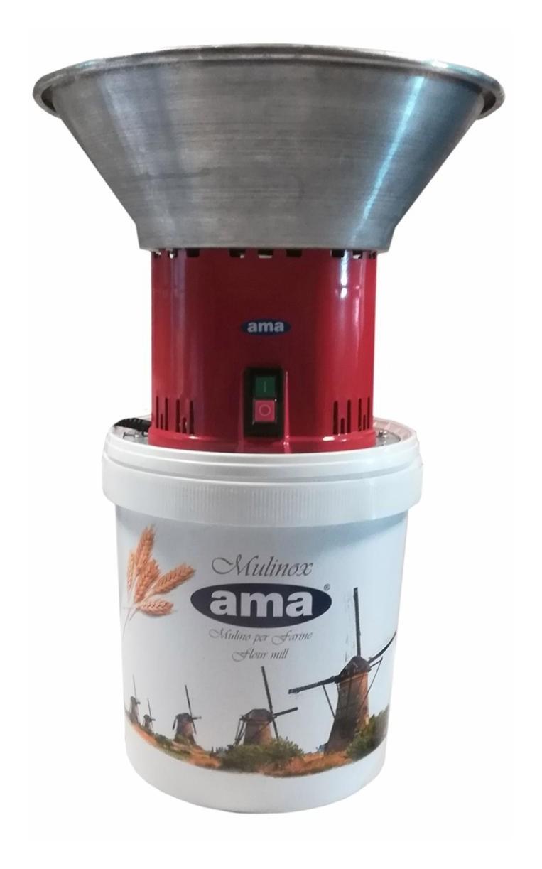 Moulin à grain pour usage alimentaire trémie inox 1.6 HP 220 V 16 Lt