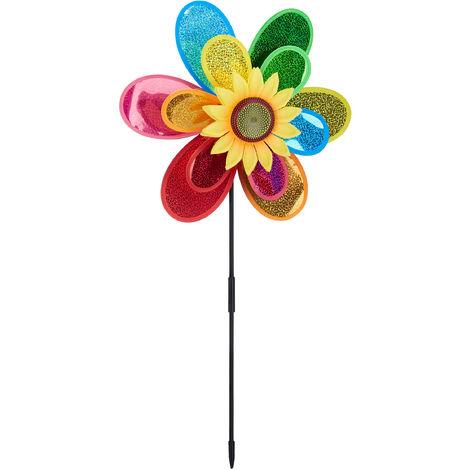 Moulin à vent Fleur, Carillon à vent jouet enfant jardin balcon épouvantail HxlxP 74,5 x 37,5 x 14 cm, coloré