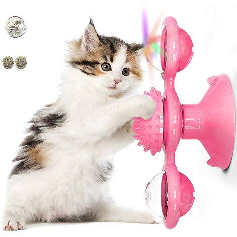 Moulin à vent, tourne-disque, jouet pour chat, ventouse, jouet interactif rotatif, brosse en poils de chat, tourne-disque, massage, grattage, chatouillettes.