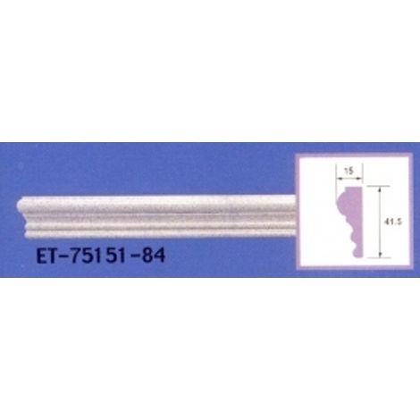 Moulure de corniche blanche en polyuréthane extrudé de 2,40 m - Décoration intérieure (ET-75151)
