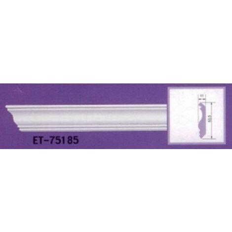 Moulure de corniche blanche en polyuréthane extrudé de 2,40 m - Décoration intérieure (ET-75185)