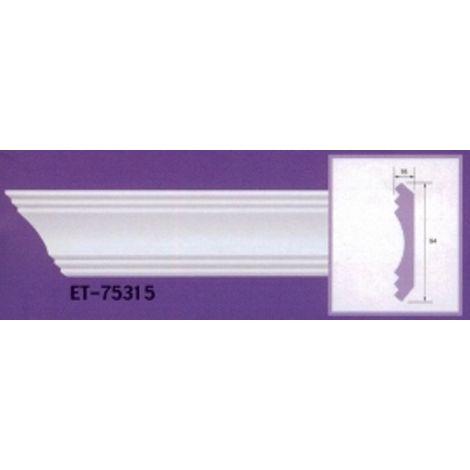 Moulure de corniche blanche en polyuréthane extrudé de 2,40 m - Décoration intérieure (ET-75315)