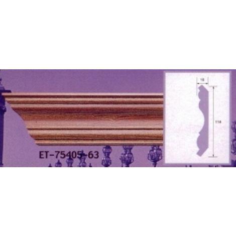 Moulure de corniche blanche en polyuréthane extrudé de 2,40 m - Décoration intérieure (ET-75405)