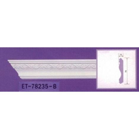 Moulure de corniche blanche en polyuréthane extrudé de 2,40 m - Décoration intérieure (ET-78235)