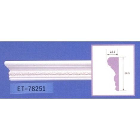 Moulure de corniche blanche en polyuréthane extrudé de 2,40 m - Décoration intérieure (ET-78251)