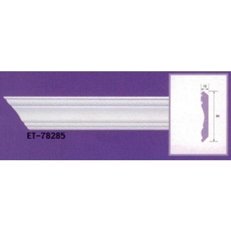 Moulure de corniche blanche en polyuréthane extrudé de 2,40 m - Décoration intérieure (ET-78285)