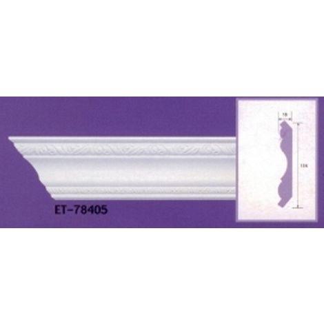 Moulure de corniche blanche en polyuréthane extrudé de 2,40 m - Décoration intérieure (ET-78405)