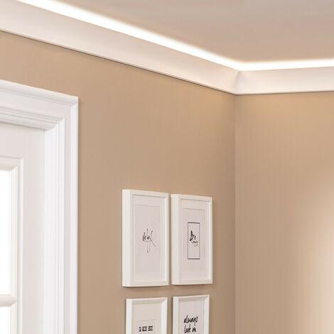Moulure en Saillie d'Éclairage Diffus 2m pour Ruban LED Design Blanc - Blanc