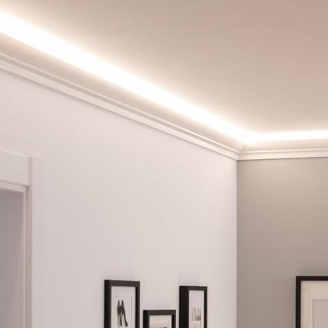 Moulure en Saillie d'Éclairage Indirect 2m pour Ruban LED Blanc - Blanc