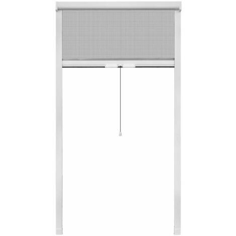 Moustiquaire à rouleau pour fenêtres Blanc 100 x 170 cm