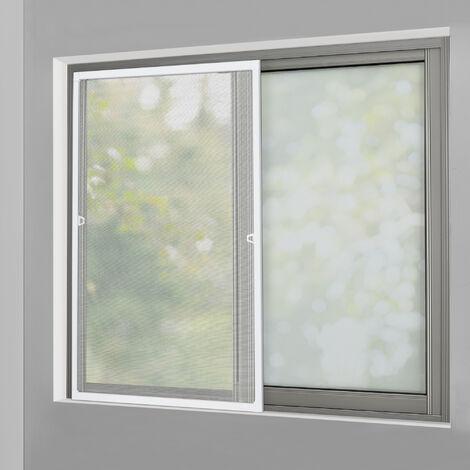 Moustiquaire avec Cadre en Aluminium Blanc sans Perçage 120 x 140 cm Individuellement Découpable Tissu Fibre de Verre Noir Résistant