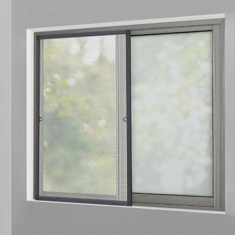 Moustiquaire avec Cadre en Aluminium Gris sans Perçage 120 x 140 cm Individuellement Découpable Tissu Fibre de Verre Noir Résistant