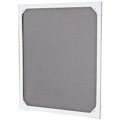 Moustiquaire Cadre fixe avec Toile Pare Soleil 120 x 100, en PVC, coloris Blanc - Ossature blanche, Toile Noire