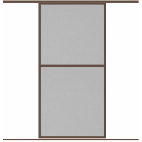 Moustiquaire Coulissante Baie vitrée CONFORT 1 Panneaux Alu L120 x H240 cm Marron