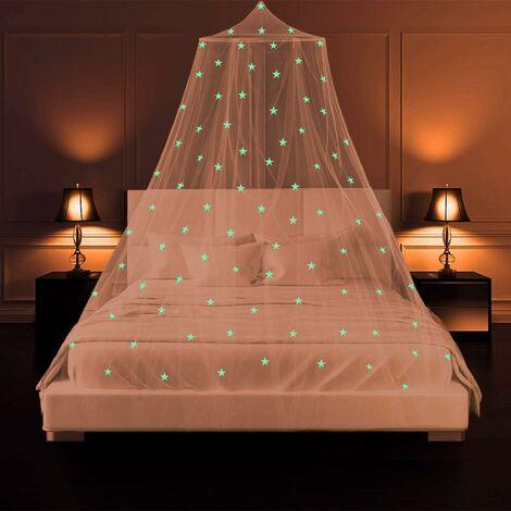 Moustiquaire de Lit Auvent de Lit Lumineuse Étoiles Ciel de Lit Grande Dome Moustiquaire lit Double pour sans Poinçon , Princesse Tente de Bébé Fille Enfant Adulte, Lit Limple au Lit King Size