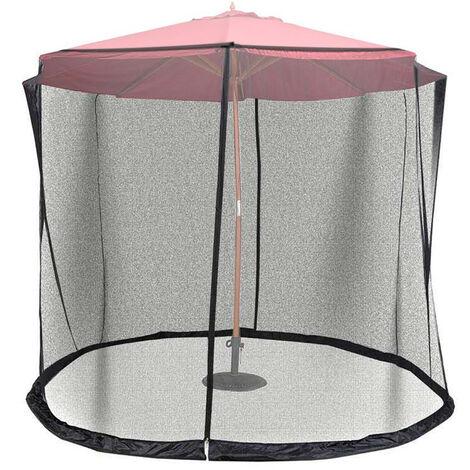 Moustiquaire De Parasol Reglable De 11 Pieds Avec Doubles Portes A Glissiere, Adaptee Au Jardin Patio Exterieur