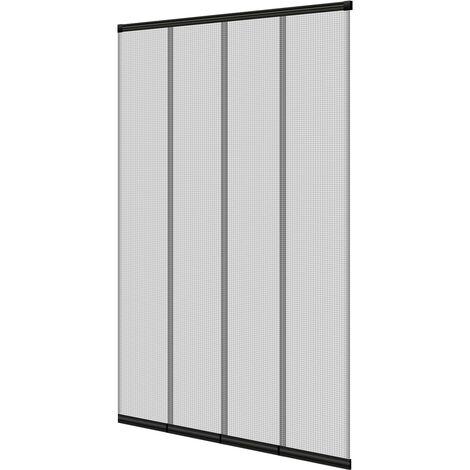 Moustiquaire de porte à lamelles noir 100 x 220 cm avec fermeture automatique